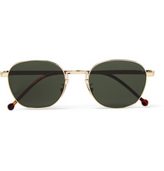 Cutler and Gross Round-Frame Engraved Gold-Tone Sunglasses