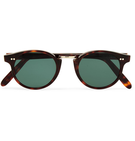 cutler and gross male roundframe tortoiseshell acetate and goldtone sunglasses