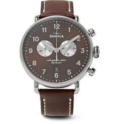 Shinola - Canfield Chronograph 43mm Stainless Steel and Leather Watch