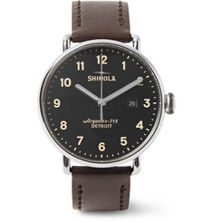 Shinola The Canfield 43mm Stainless Steel and Leather Watch