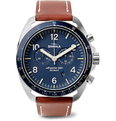 Shinola - The Rambler Tachymeter Chronograph 44mm Stainless Steel and Leather Watch