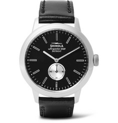 Shinola - The Bedrock 42mm Stainless Steel and Leather Watch