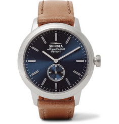 Shinola The Bedrock 42mm Stainless Steel and Leather Watch
