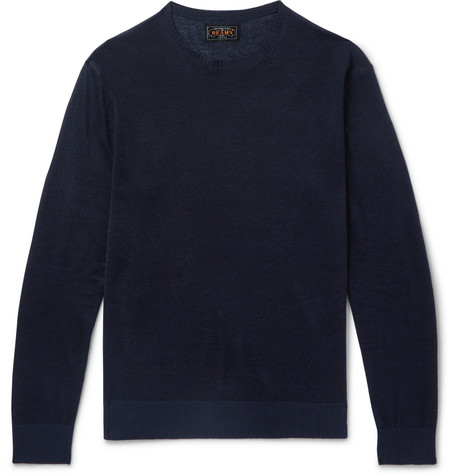 Beams Linen And Silk-blend Sweater - Navy