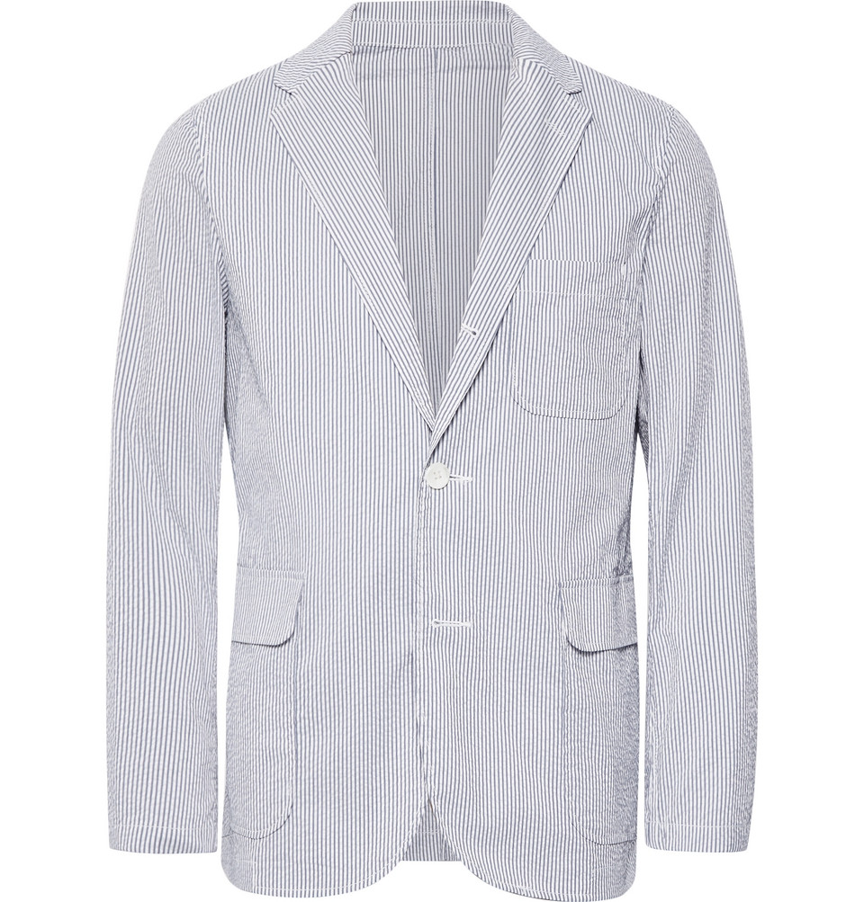 Blue Striped Coolmax Seersucker Blazer - Blue
