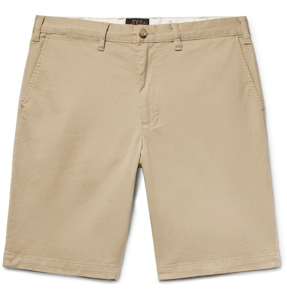 Slim-fit Cotton-blend Twill Shorts - Beige