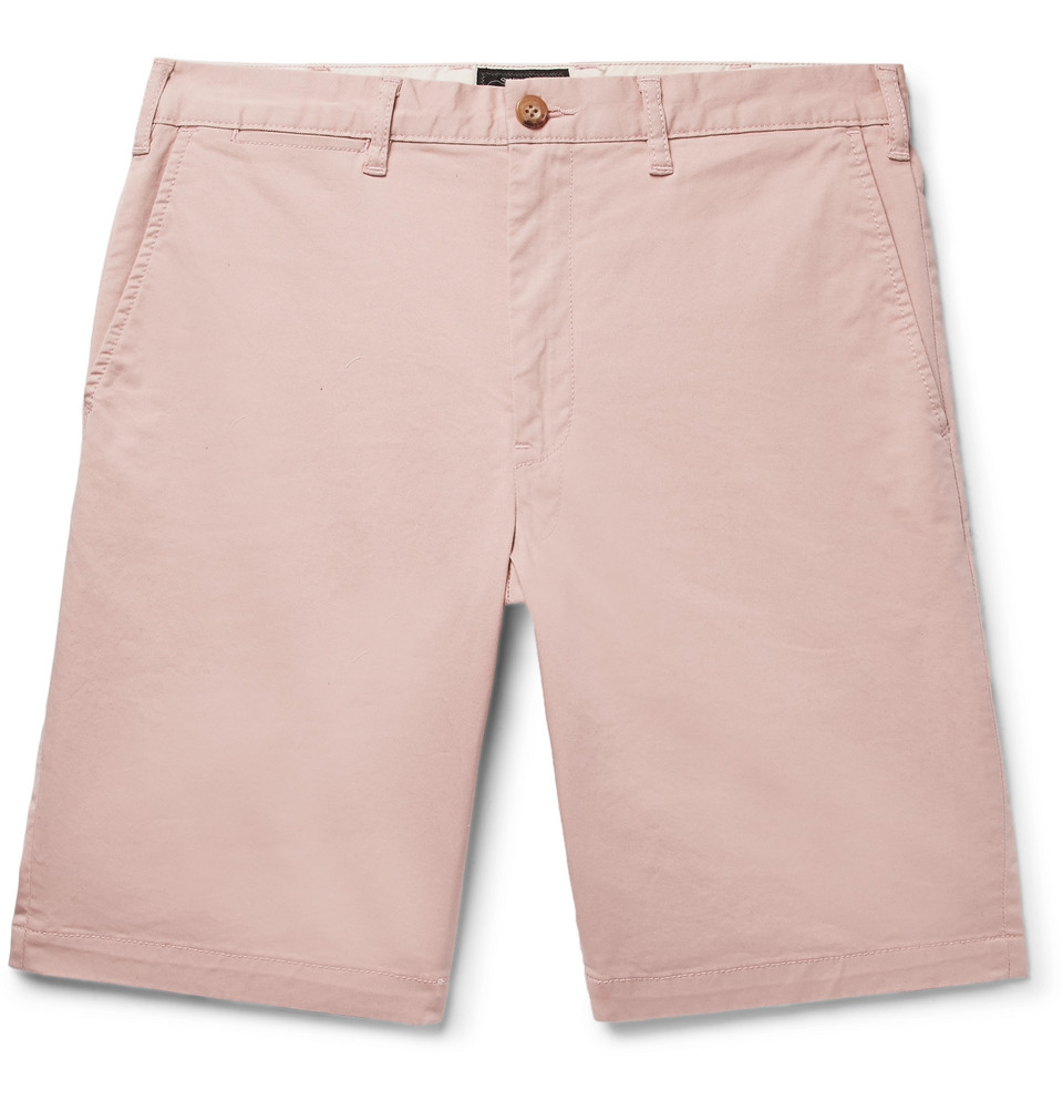 Slim-fit Cotton-blend Twill Shorts - Pink
