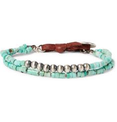 Peyote Bird Turquoise, Sterling Silver and Leather Wrap Bracelet
