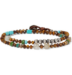Peyote Bird Tiger's Eye, Turquoise, Rutilated Quartz and Sterling Silver Wrap Bracelet