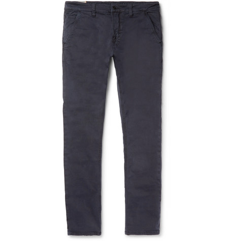 Slim Adam Garment Dyed Stretch Organic Cotton Twill Trousers by Nudie Jeans