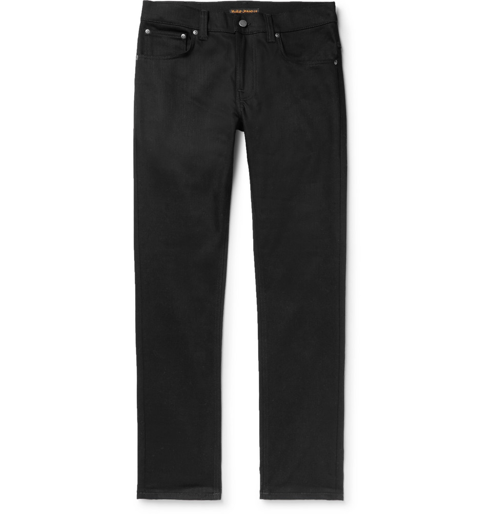 Bild på Grim Tim Slim-fit Organic Stretch-denim Jeans - Black
