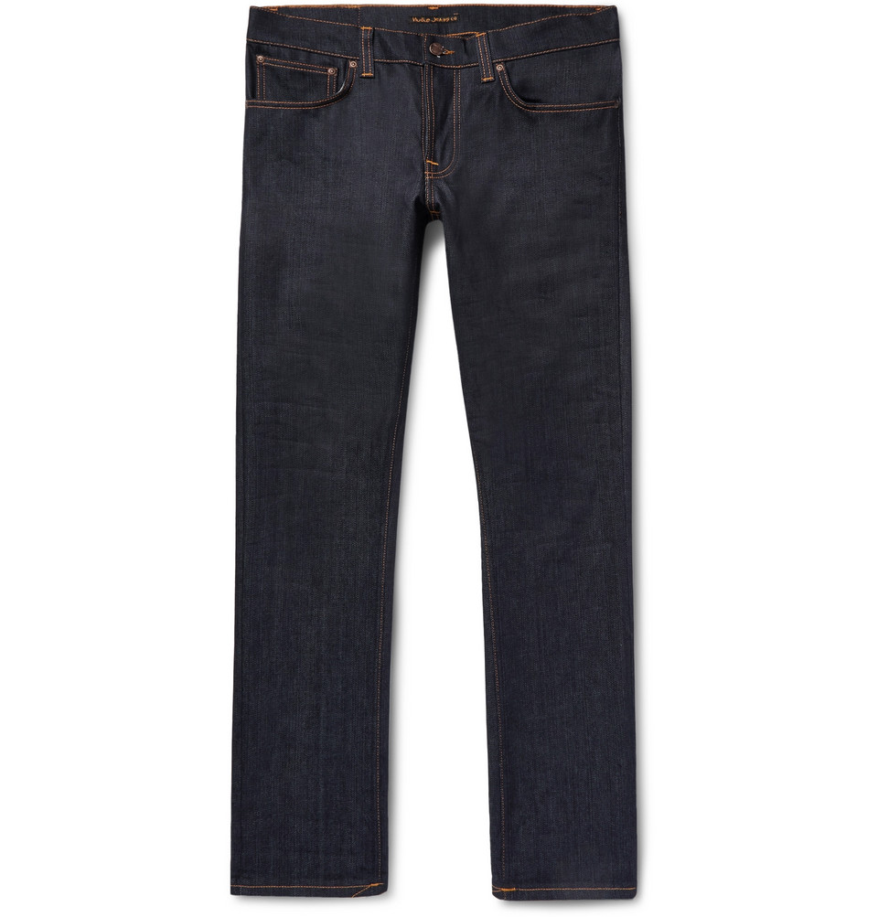 Bild på Grim Tim Slim-fit Organic Stretch-denim Jeans - Dark denim