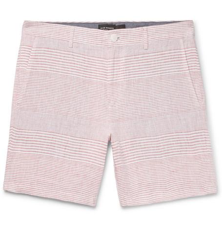 CLUB MONACO Baxter Slim-fit Striped Linen Shorts - Red xSUJlTBoY