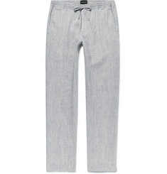 Club Monaco - Beach Slim-Fit Mélange Slub Linen-Blend Drawstring Trousers