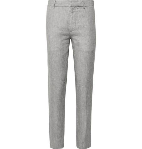 sutton-slim-fit-puppytooth-slub-linen-trousers by club-monaco