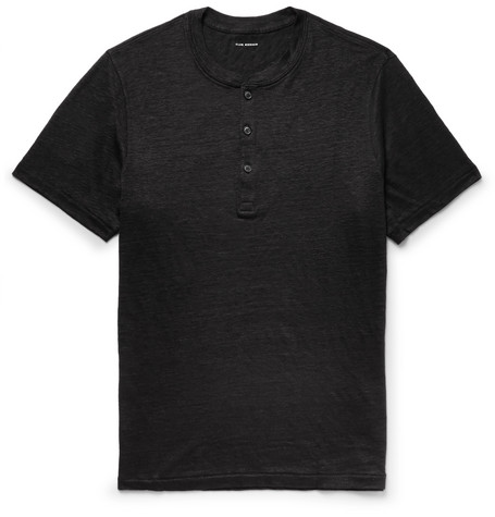 Slim Fit Slub Linen Jersey Henley T Shirt by Club Monaco