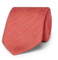 Charvet - 7.5cm Herringbone Silk and Linen-Blend Tie