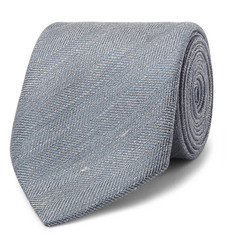 Charvet 7.5cm Herringbone Slub Silk and Linen-Blend Tie