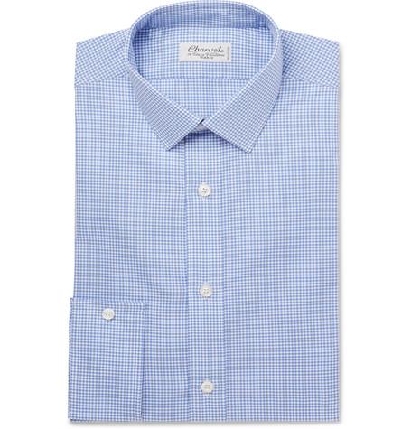 Charvet Blue Gingham Cotton-poplin Shirt - Blue