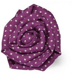 Charvet Polka-Dot Silk and Linen-Blend Lapel Pin