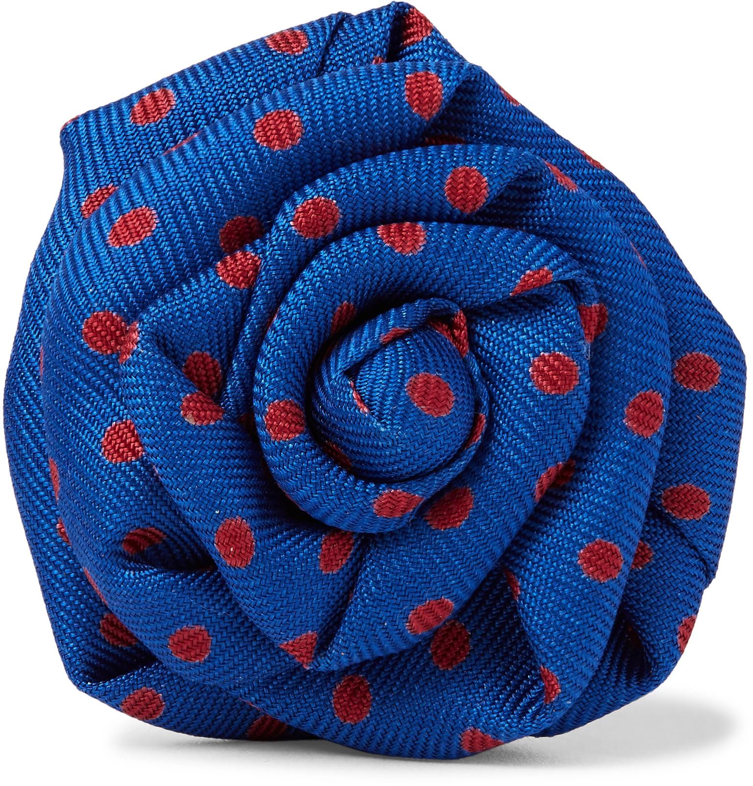 Charvet Polka Dot Silk Faille Flower Lapel Pin