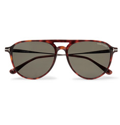 TOM FORD - Carlo Aviator-Style Tortoiseshell Acetate and Gunmetal-Tone Sunglasses