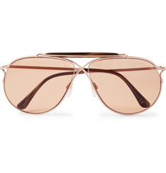 TOM FORD - Tom N.6 Aviator-Style Rose Gold-Tone and Acetate Sunglasses