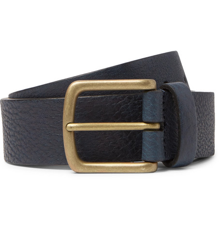 andersons male 35cm navy fullgrain leather belt