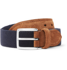 Anderson's 3.5cm Suede-Trimmed Canvas Belt