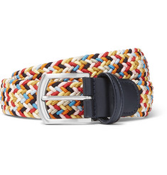 Anderson's - 3.5cm Leather-Trimmed Woven Elastic Belt