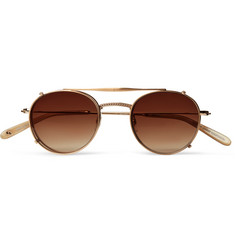 Garrett Leight California Optical - Cloy 46 Round-Frame Gold-Tone Optical Glasses with Clip-On UV Lenses