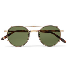 Garrett Leight California Optical - Wilson 49 Round-Frame Acetate and Gold-Tone Optical Glasses with Clip-On UV Lenses