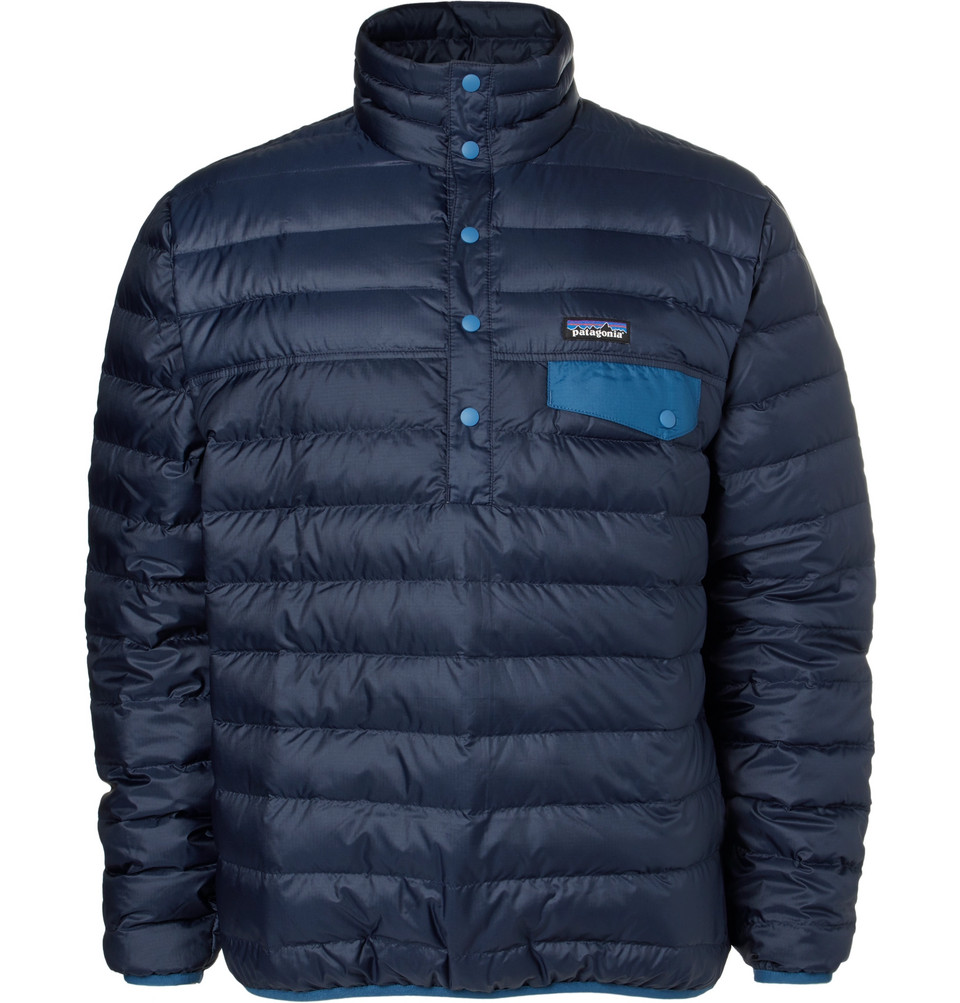 Snap-t Quilted Dwr-coated Ripstop Shell Down Pullover - Navy
