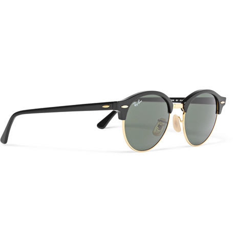 Clubmaster Round Frame Acetate And Gold Tone Polarised Sunglasses by Ray Ban