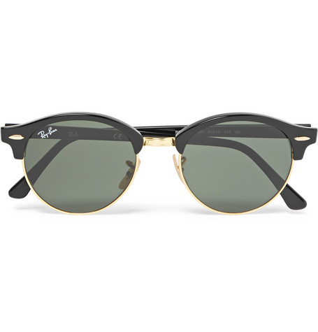 8e68a94f97 Ray-BanClubmaster Round-Frame Acetate and Gold-Tone Polarised Sunglasses