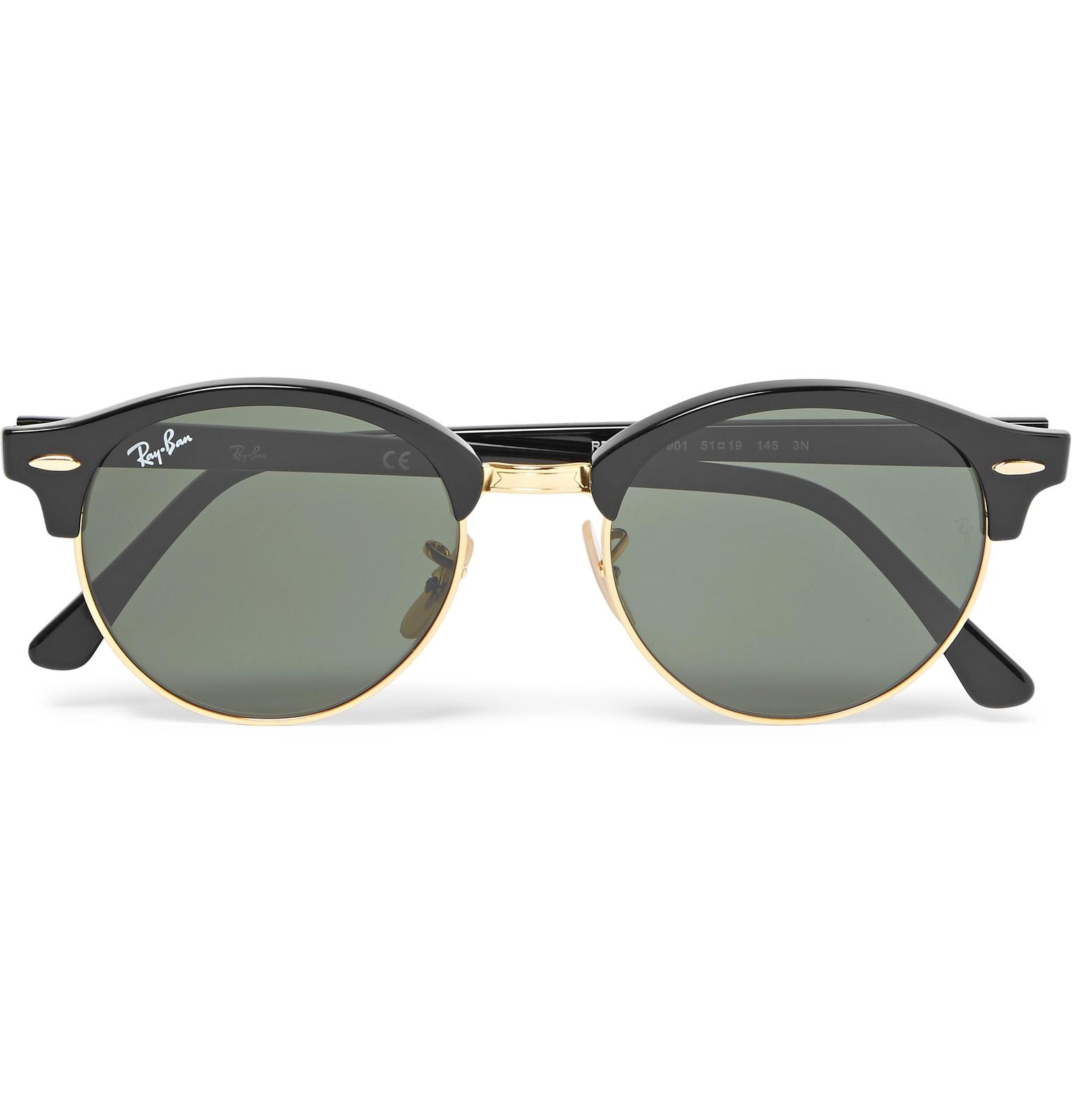 66de27bd9e Ray-BanClubmaster Round-Frame Acetate and Gold-Tone Polarised Sunglasses