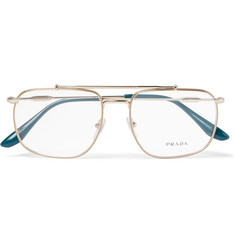 Prada Aviator-Style Gold-Tone Optical Glasses