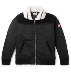 Cav Empt - Shearling and Suede-Trimmed Shell Bomber Jacket
