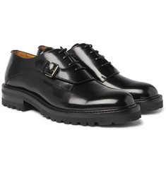 Valentino - Buckle-Detailed Glossed-Leather Derby Shoes