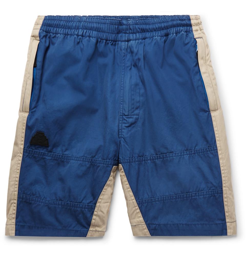 Two-tone Cotton-twill Drawstring Shorts - Blue