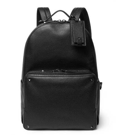 Valentino Garavani Rockstud Pebble-grain Leather Backpack - Black