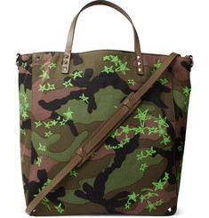 Valentino + Zandra Rhodes Leather-Trimmed Camouflage-Print Canvas Tote Bag