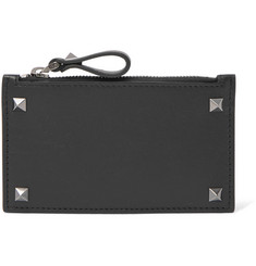 Valentino Rockstud Leather Zipped Cardholder