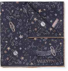 Valentino + Zandra Rhodes Printed Silk-Twill Pocket Square