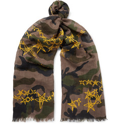 Valentino - Printed Cotton and Linen-Blend Voile Scarf