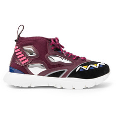 Valentino Heroes Reflex Suede, Leather and Mesh Sneakers