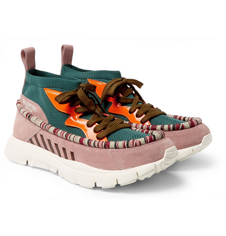 discount pay with paypal huge surprise cheap online Valentino Valentino Garavani Heroes Tribe 1 Leather-Trimmed Suede and Mesh Sneakers clearance websites outlet 2015 new QR4Fi