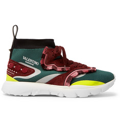 Valentino Heroes Tribe 2 Fringe-Trimmed Suede and Mesh Sneakers
