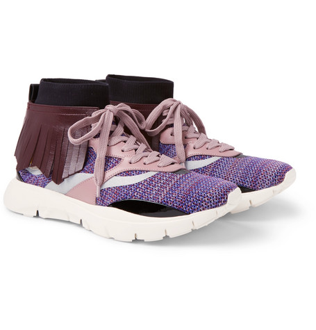Garavani Heroes Tribe 4 Fringed Leather-trimmed Stretch-mesh Sneakers Valentino Buy Cheap Low Shipping Fee Buy Cheap View b2GcSB