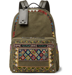 Valentino Valentino Garavani Leather-Trimmed Embroidered Canvas Backpack